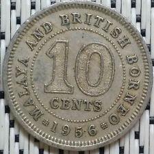 *GOOD Grade* 1956 - Malaya - 10 Cents Elizabeth II #CBOR