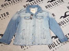 New Women's HOLLISTER Ripped Boyfriend Denim Jacket Size M Medium Wash Blue