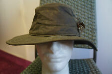 VINTAGE BARBOUR WAXED COTTON OLIVE GREEN HUNTING SHOOTING BUCKET HAT SIZE L