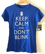 DOCTER WHO Blue Women's Keep Calm And Don't Blink T Shirt Sz Medium NWT