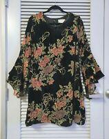 black velvet floral pttrn angel ruffle slev dress 2XL w/ anthropologie earrings