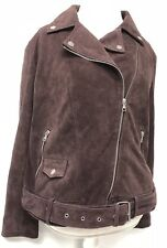 Ugg Australia Stacey Suede Moto Jacket Port Purple Leather 1018966 Women's XL