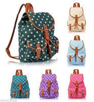Canvas Polka dot Backpack Rucksack School bag College Shoulder Bag for girls