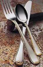 Gorham Golden Ribbon Edge 40pc Stainless Flatware 24kt Gold Set Service for 8