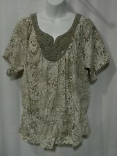 Sonoma Plus Size 1X Short Sleeve Cotton Knit Top with Crochet on Neckline