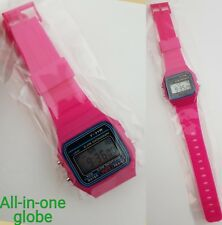 Replacement Casio F-91w Style Wrist Watch Retro Digital -Hot Pink - UK Seller