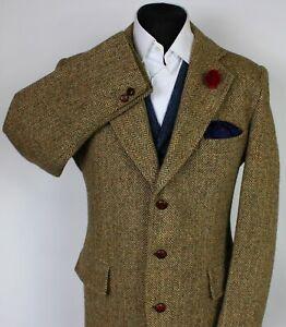 Harris Tweed Blazer Jacket Brown 44R VINTAGE 1950's TWEED X231