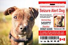 Canadian Service Dog Card, Seizure Alert ID TAG, Service Dog Tag Plastic Card