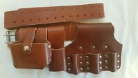 New Heavy Duty Professional Quality Scaffolding Thick Leather Work Tool Belt