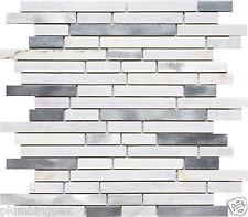White Calacatta Marble & Brushed Aluminum Mosaic Backsplash Tiles-9 Sheets