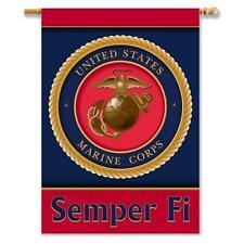 "U.S. Marine Corps 2-Sided 28"" X 40"" Banner W/Pole Sleeve - Usa&Military Licensed"