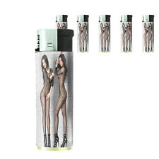 Italian Pin Up Girl D2 Lighters Set of 5 Electronic Refillable Butane
