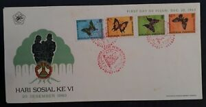 1963 Indonesia Butterflies Surcharged FDC ties 4 Stamps cd Bandung
