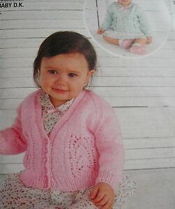 "#16 Baby Girls DK Cardigans 2 Designs 18-21"" 46-53cm Knitting Pattern"