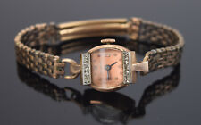 Vintage Geneve Ladies 14kt Rose Gold Diamonds Cocktail Wristwatch Watch