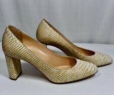 M. Gemi Lustro Snake Print Leather Nude Heels Italy Women's 37.5 EU/ 7 US EUC