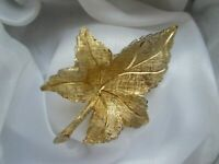 Vintage Signed Ledo 1963 Gorgeous Gold Tone Leaf Costume 1960s Brooch Pin