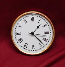 """Complete Clock Insert Fit Up Movement 4 1/4"""" Diameter White Roman Dial GWR4.25"""