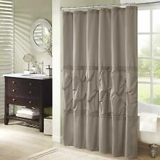Nice Modern Shabby Chic Rustic Tufted Textured Ruffle Fabric Shower Curtain