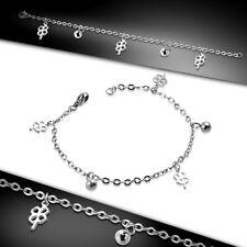 Damen Mädchen Armband Kettenarmband Armkette Silber Kugel & Glücksklee Charms