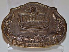 """Kessler Whiskey Smooth as Silk Limited Edition Brass Belt Buckle 1993 3"""" x 2.25"""""""