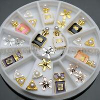 18 Pcs 3D Nail Art DIY Perfume Decoration Alloy Pearl Jewelry + Wheel  3 Styles