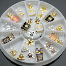 18 Pcs 3d Nail Art DIY Perfume Decoration Alloy Pearl Jewelry Wheel 3 Styles