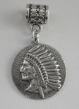 PEWTER CHARM suit European Bracelet #158 NATIVE INDIAN CHIEF (20mm wide)