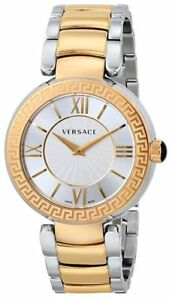 Swiss Made Versace Leda Two-Tone SS Silver Dial Ladies Watch VNC220017