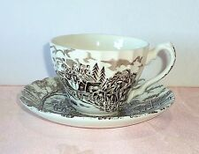 Myott ROYAL MAIL Brown On Cream Cup & Saucer Set Stage Coach Transfer England