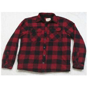 Boston Traders Red Black Long Sleeve Lined Dress Shirt Mens Man's 2 Pocket Large