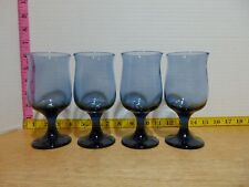 """Four Cobalt Smokey Blue Fluted Goblet Water Wine Glasses 5 1/2"""""""