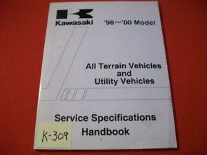 KAWASAKI SERVICE SPECIFICATIONS HANDBOOK FOR ATV & UTILITY VEHICLES 1998-2000