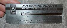 VINTAGE WIRE GAUGE ADVERTISING JOSEPH ARONAUER SPRINGS BENSONHURST BROOKLYN