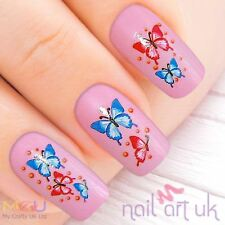 Pink & Blue Butterfly Water Decal Nail Stickers Tattoo Art 01.03.081