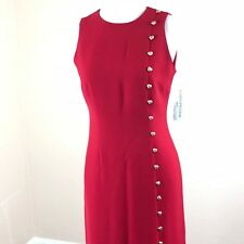 Vintage Evan Picone Sheath Dress 4P Petite Women Red Sleeveless Gold Buttons