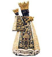 Estatua Madonna De Altötting CM 8 Tallada en Madera Val Gardena Adornada a Mano