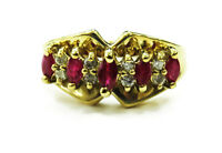 14k Yellow Gold Ruby and Diamond Ladies Ring ~ 4.5g