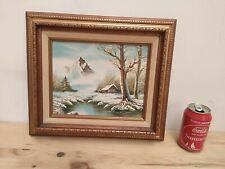 """Vintage Painting on canvas hand painted unknown artist 14x12"""" Gilded wood frame"""
