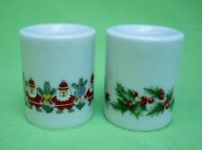 Set of (2) Bavarian Village Germany candle holders. Holly wreath and Santa tree.
