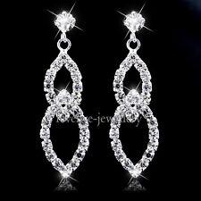 Bridal New Silver Diamante Crystal Rhinestone Leaf Dangle Earrings Wedding Prom