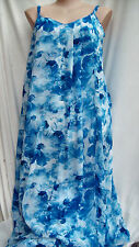 Blue white Floral dream Summer Overlay Maxi DRESS size 12 lined NEW