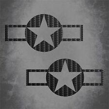 2 CARBON FIBER USAF Aircraft Insignia Stickers Military Star Decal Sticker Car