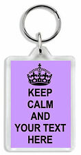 Keep Calm and Make Your Own Keyring / Bag Tag - Add any text  *Great Gift*