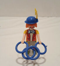 PLAYMOBIL 2006 Clown Figurine with 4 Blue Rings Plastic, Orange Hair Blue Hat
