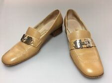 Salvatore Ferragamo Low Heel Loafer Pumps Tan Sz 7.5 AAAA Drin Bit Buckle