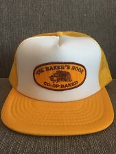 Vtg The Bakers Nook Trucker Hat Snap Back Mesh Co-Op Yellow White 80's Baking