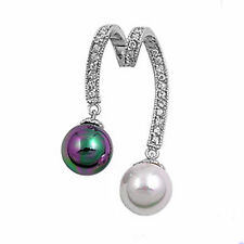 NEW ARRIVAL! BLACK and WHITE PEARL SLIDE .925 STERLING SILVER PENDANT Free Ship!