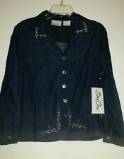 BEND OVER  LIGHT Blue DENIM Jacket   2 Pkts,  silver & Bling ,5 Buttons size 18p