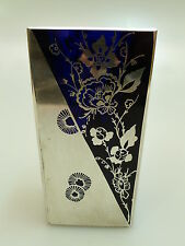 GLAS VASE FACHSCHULE HAIDA BÖHMEN ART DECO UM 1920 SILVEROVERLAY BLAUES GLAS